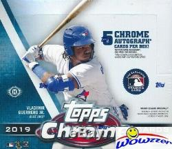 2019 Topps Chrome Baseball MASSIVE Factory Sealed HOBBY JUMBO Box-5 AUTOGRAPHS