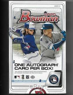2020 Bowman Baseball Factory Sealed Unopened Hobby Box 24 Packs 1 Autograph