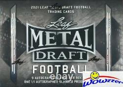 2021 Leaf METAL Draft Football Factory Sealed HOBBY JUMBO Box-10 AUTOS-1/1 PROOF